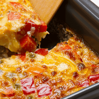 How to Make a fluffy egg casserole for a healthy breakfast with bell peppers, ham, and cheese and mushrooms