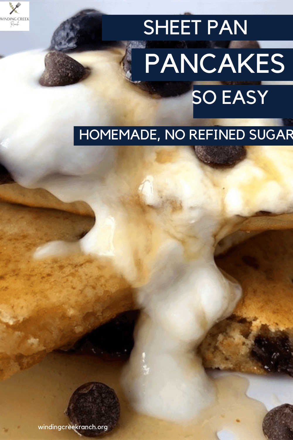 Light and fluffy baked sheet pan pancakes from scratch, no refined sugar, covered in whip cream, maple syrup, blueberries, and chocolate chips