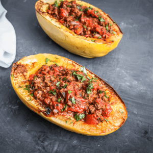Delicious marinara sauce served in a spaghetti boat squash after it was baked in the oven