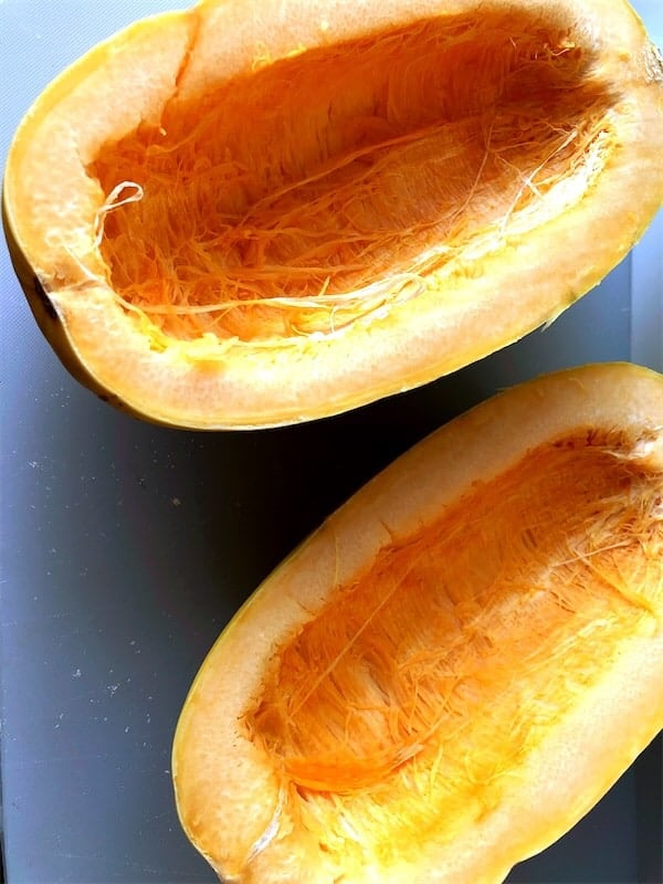 spaghetti squash that has the seeds cleaned out and is cut in half lengthwise