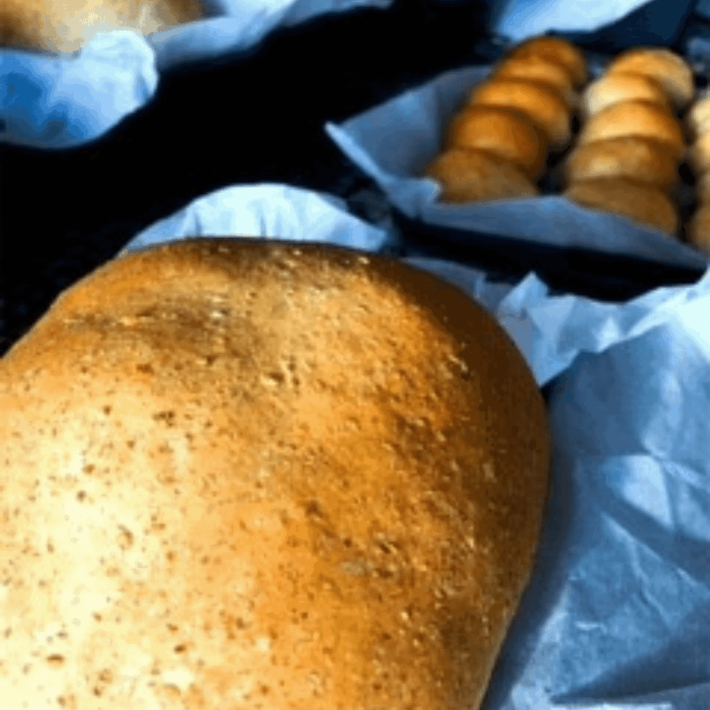 Baked bread cooling on counter