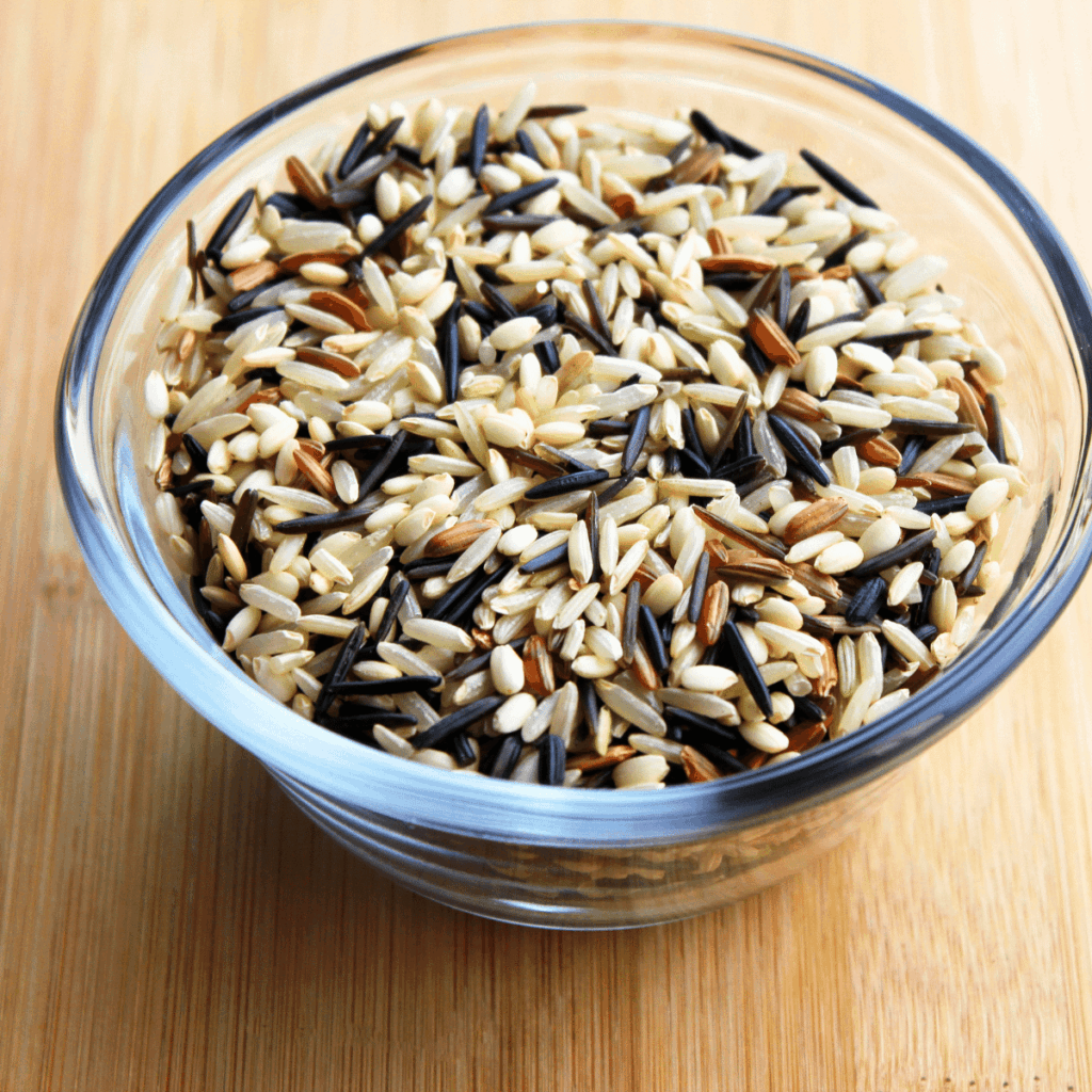 A bowl of wild rice uncooked