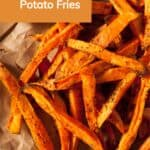 Pin for crispy sweet potato fries