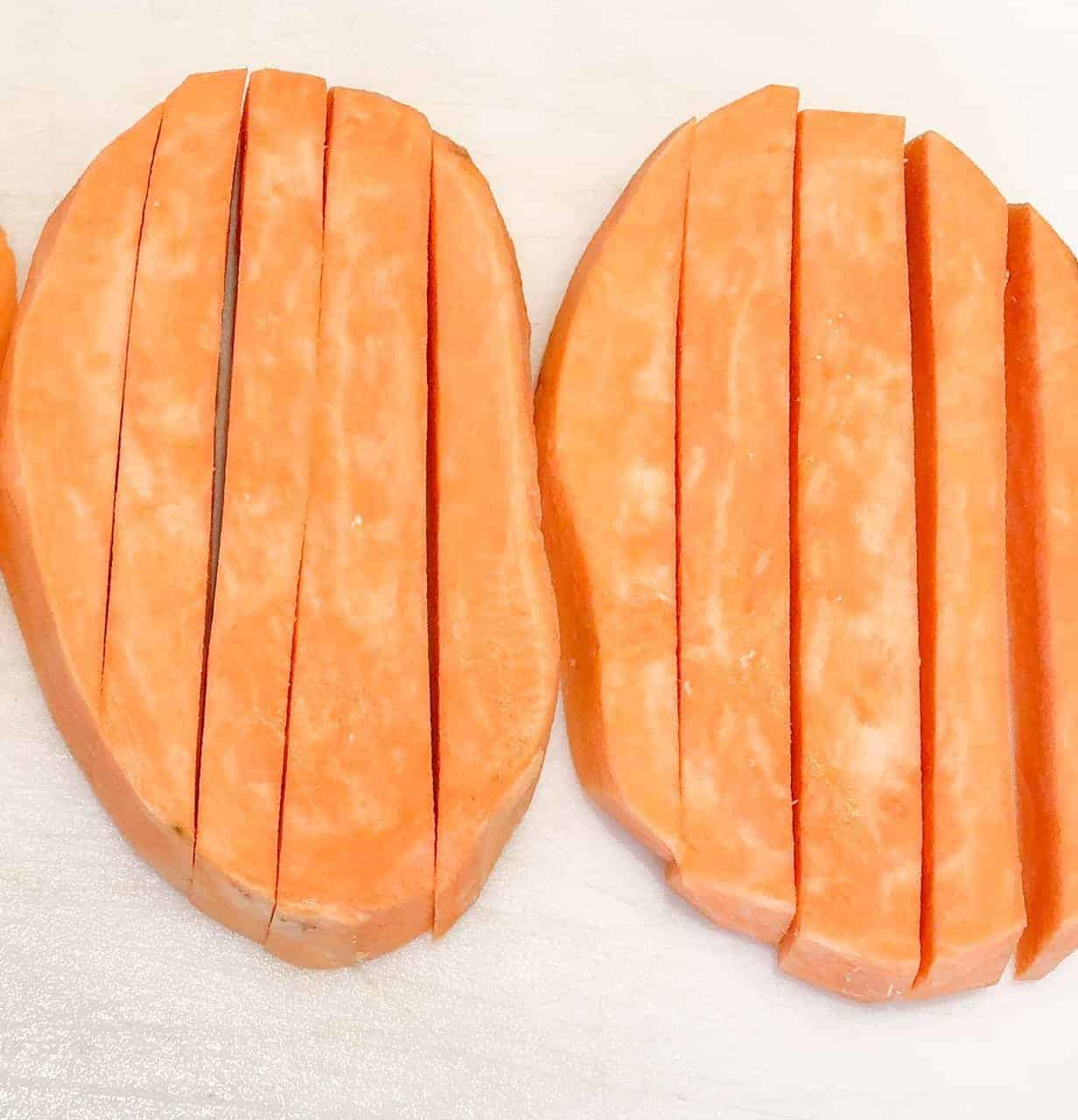 Cut sweet potato into ¼-inch french fries