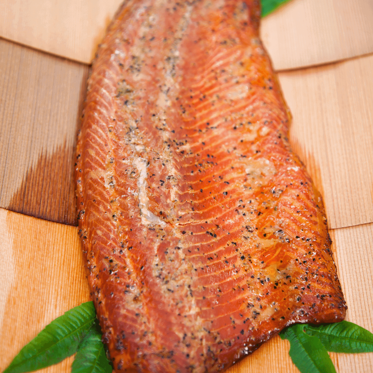 Cooked salmon just taken off the pellet grill