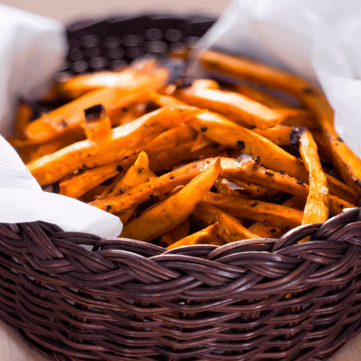 Ultra crispy sweet potato fries in a wicker basket