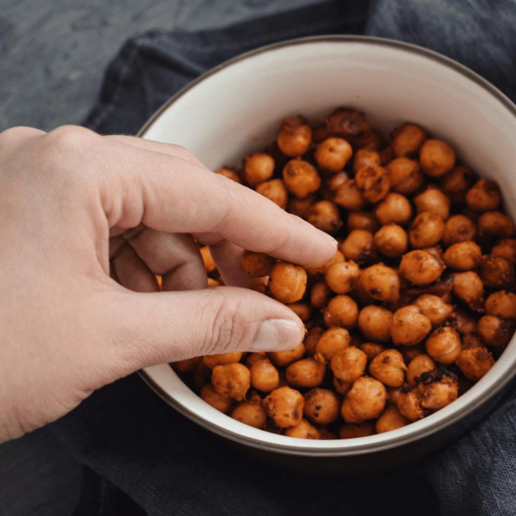 Crispy air fryer chickpeas in a bowl
