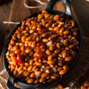 baked beans in a casserole dish