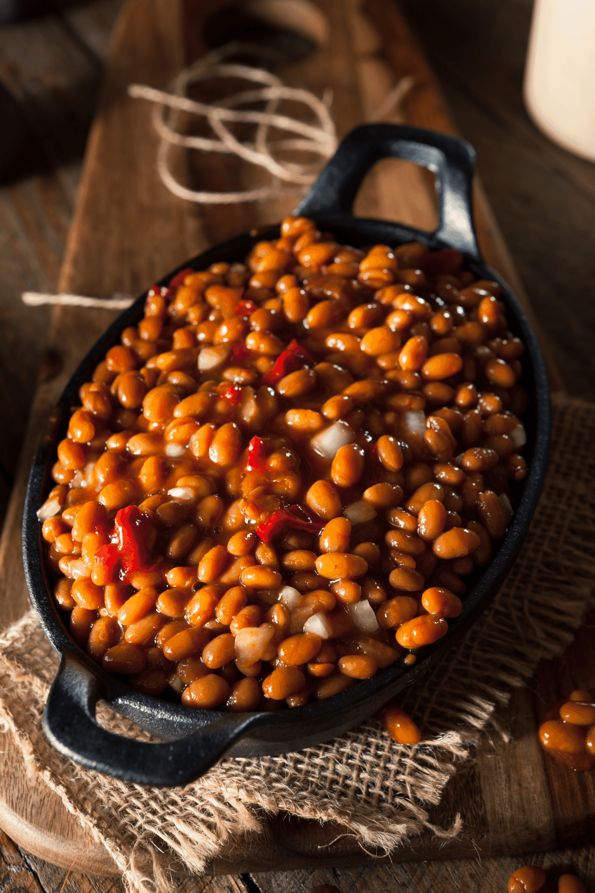 Easy baked beans in a casserole dish