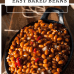 Pin for homemade baked beans served in a cast iron skillet