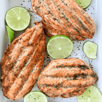 Chili lime chicken smoked to perfection served with slices of fresh lime