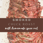 Long pin for smoked chuck roast, served on a white platter and sliced into thin slices