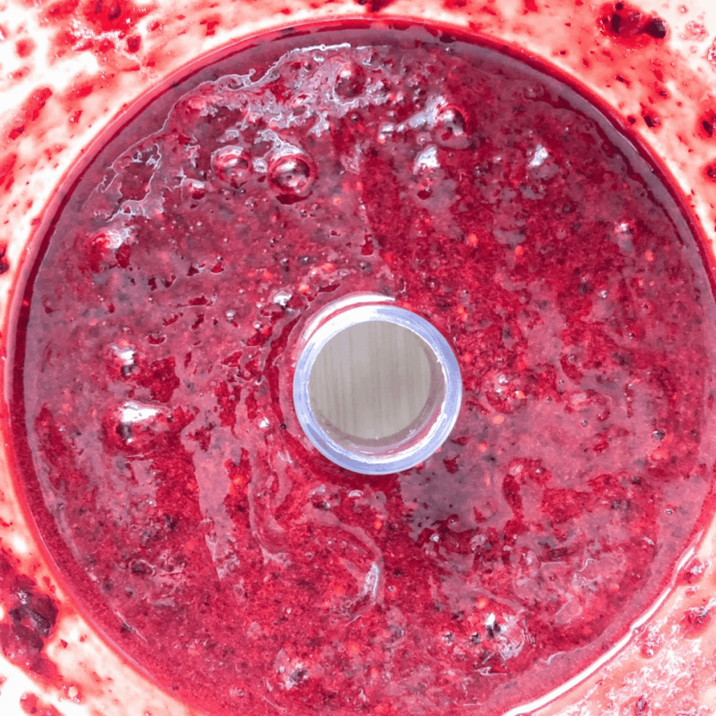 Blended haskap berries until they are blended smooth