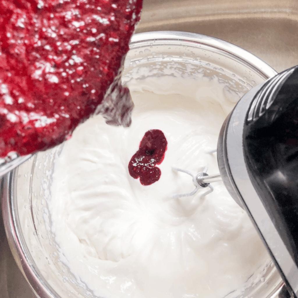 Add blended haskap berries to homemade no churn ice cream