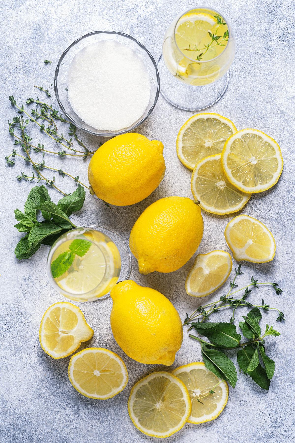 Inngredients needed for making homemade lemonade