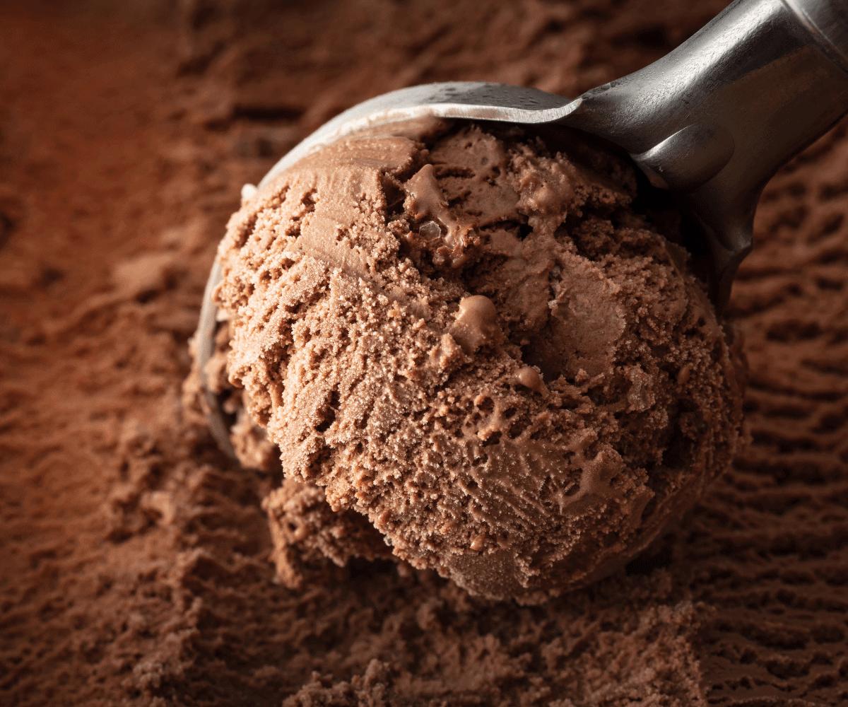 A scoop of chocolate ice cream