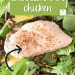 Instant Pot chicken breast, lightly seasoned, on a bed of lettuce