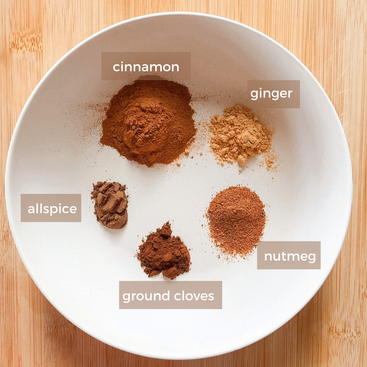Ingredients for homemade pumpkin pie spice measured out into a white bowl, cinnamon, ginger, nutmeg, ground cloves, and allspice.