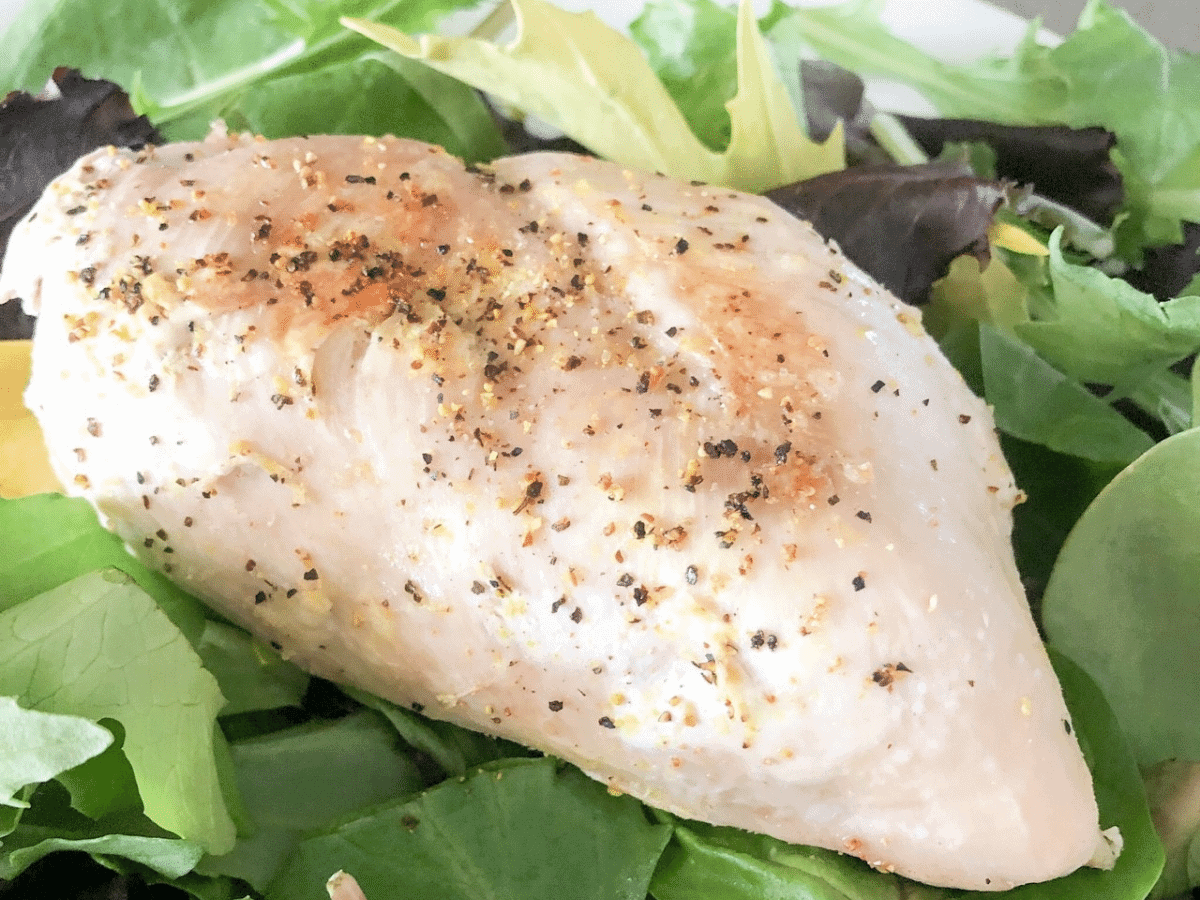 Chicken breast cooked in the Instant Pot and served on a bed of lettuce