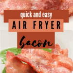 Air fryer bacon served on a white plate, and on a bed of green lettuce