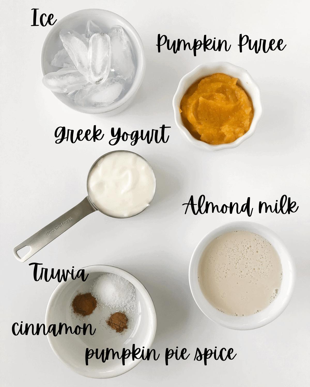 Ingredients for keto pumpkin pie smoothie
