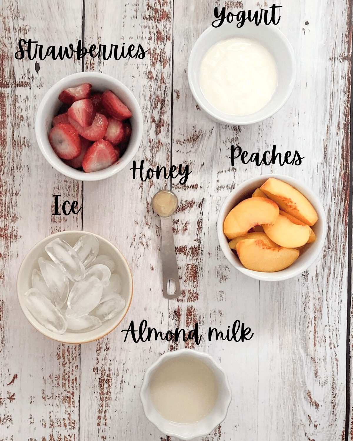 Ingredients for strawberry peach smoothie