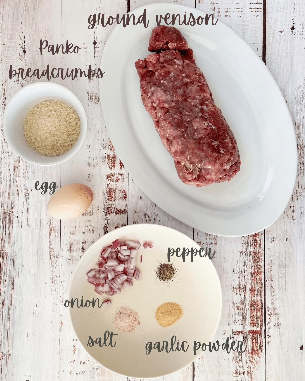 Ingredients for venison meatballs