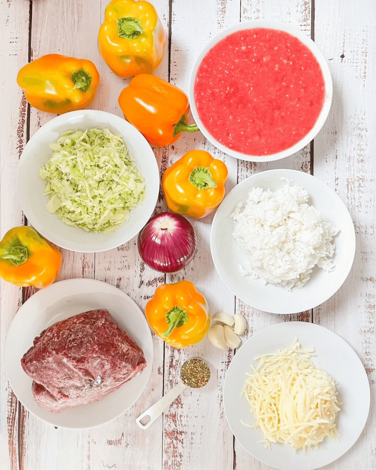 Ingredients to make smoked stuffed peppers