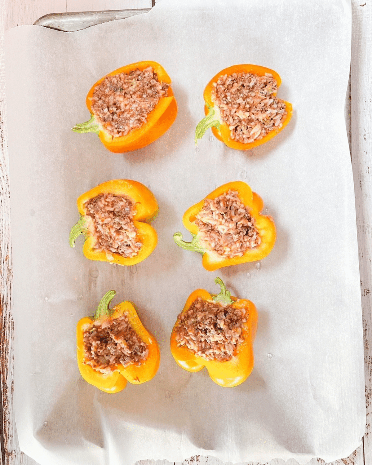 Sweet bell peppers stuffed with meat mixture